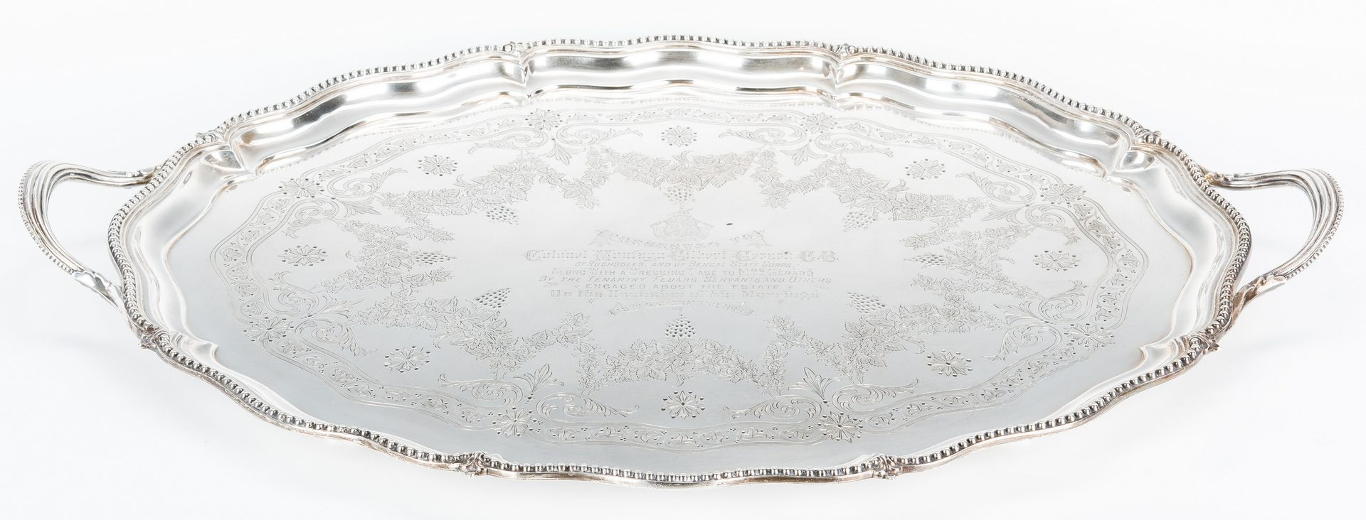 Lot 66: Sterling Presentation Tray to Col. Montagu Gerard