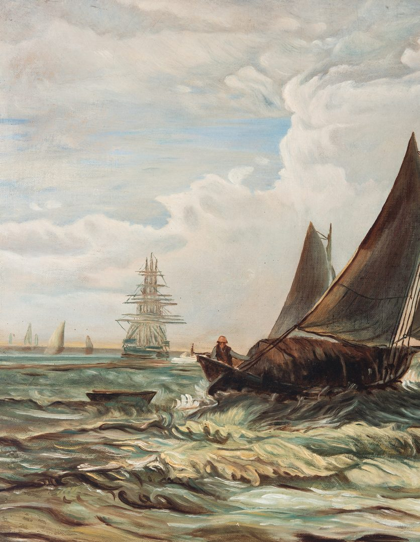 Lot 670: American School O/C, Marine Painting