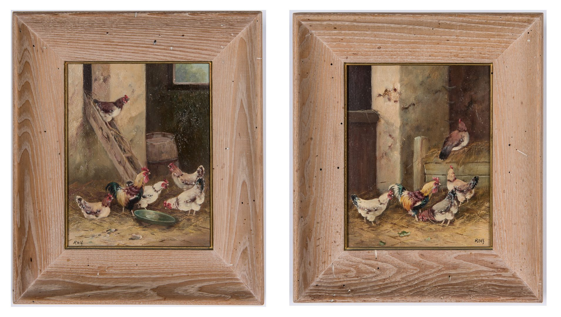 Lot 671: 2 Chicken Paintings Signed Rolf