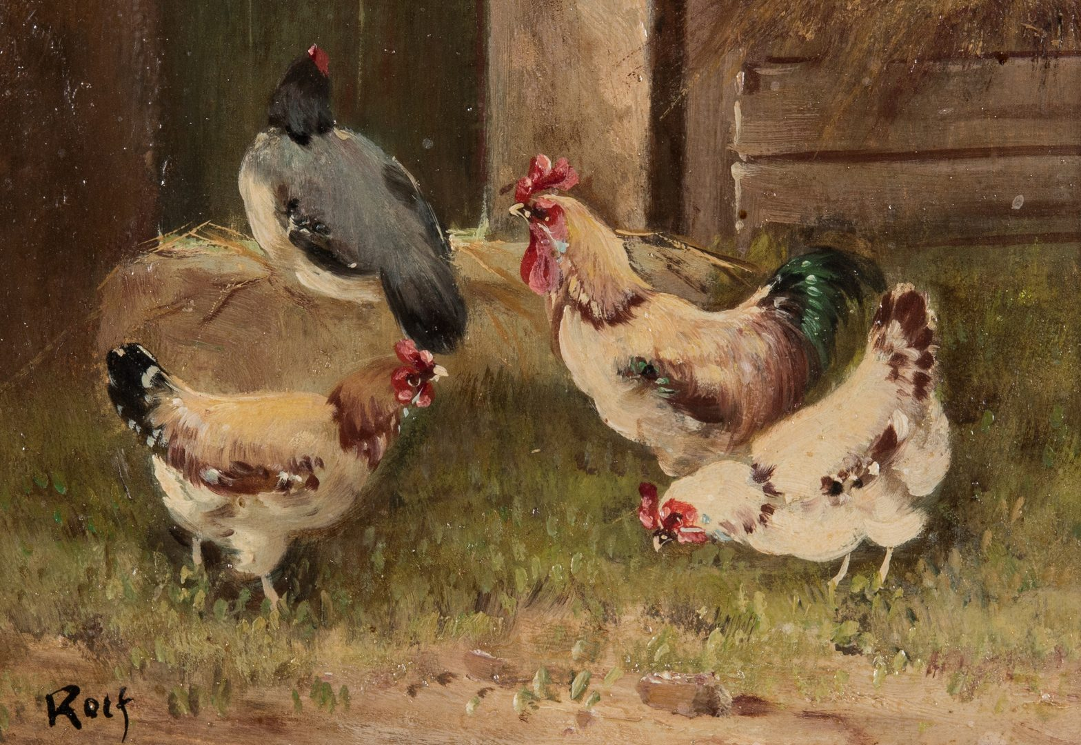 Lot 672: 2 Chicken Farm Scene Paintings signed Rolf