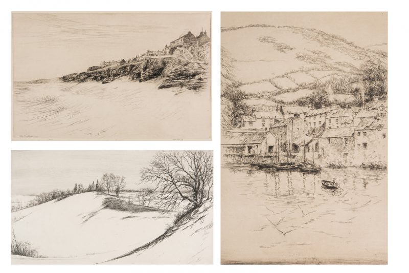 Lot 675: 3 Kerr Eby Etchings, incl. Cornwall Proofs