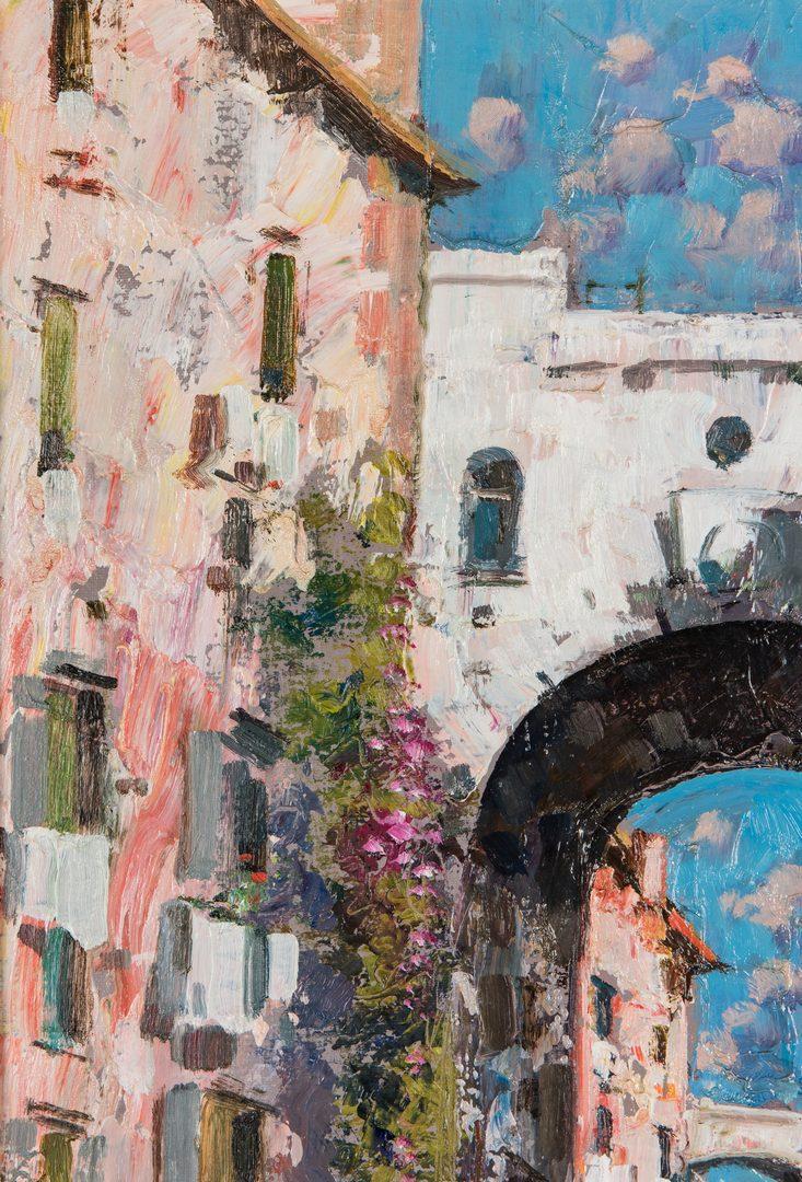 Lot 679: Signed Italian Street Scene Oil on Canvas