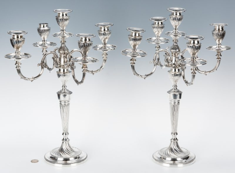 Lot 67: Pair of Edwardian Sterling Candelabra