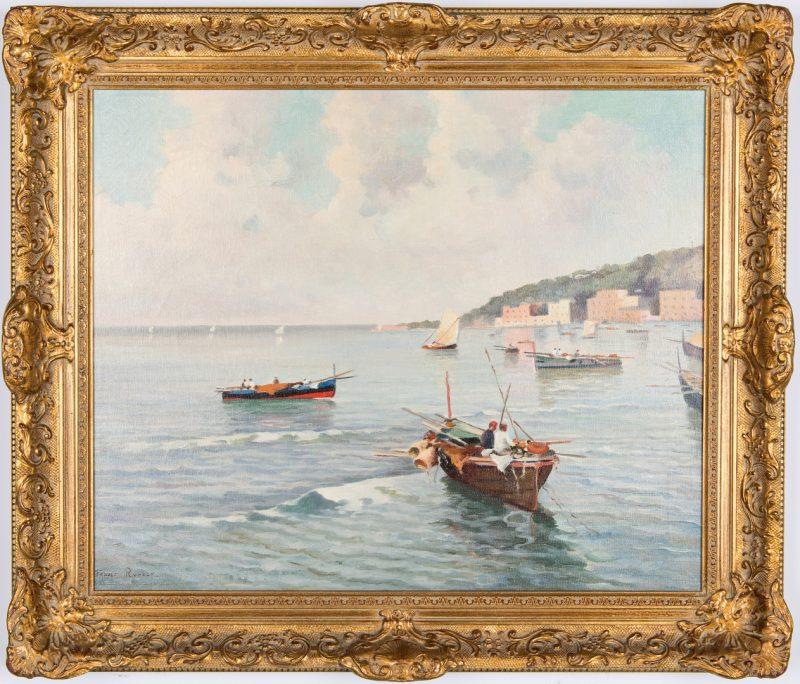 Lot 680: Franco Ruocco O/C, Italian Harbor Scene