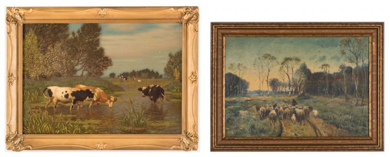 Lot 681: 2 European O/C Paintings, Cows & Sheep