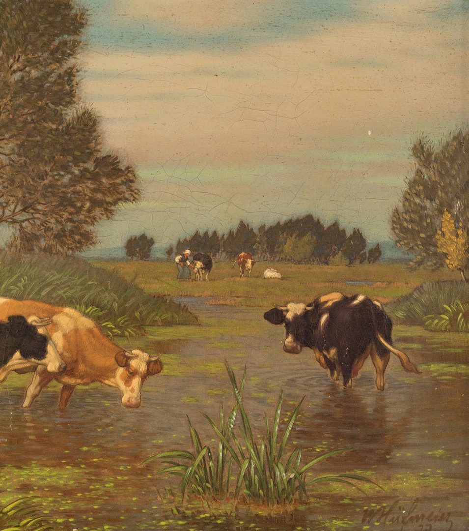 Lot 681: 2 European O/C Paintings, Cows & Sheep