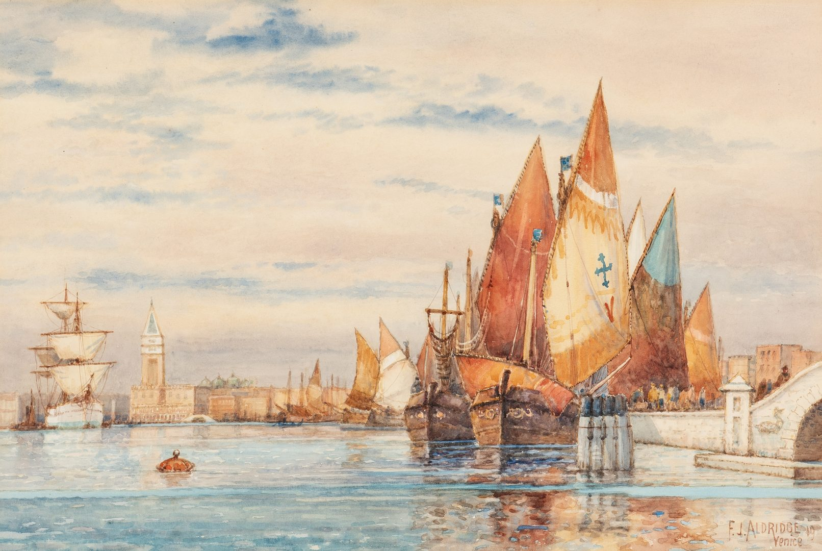 Lot 682: Frederick James Aldridge W/C, View of Venice