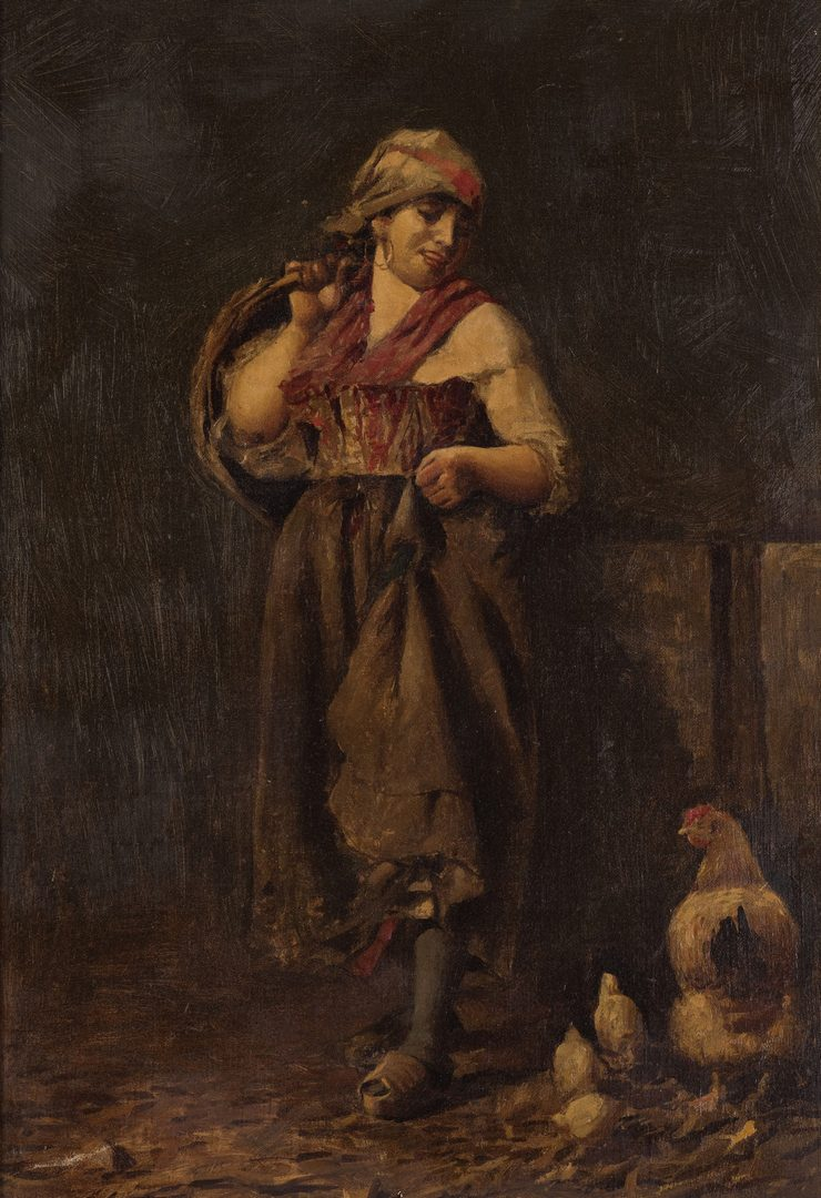 Lot 685: Italian Peasant Girl Feeding Chickens, Attr. Vince