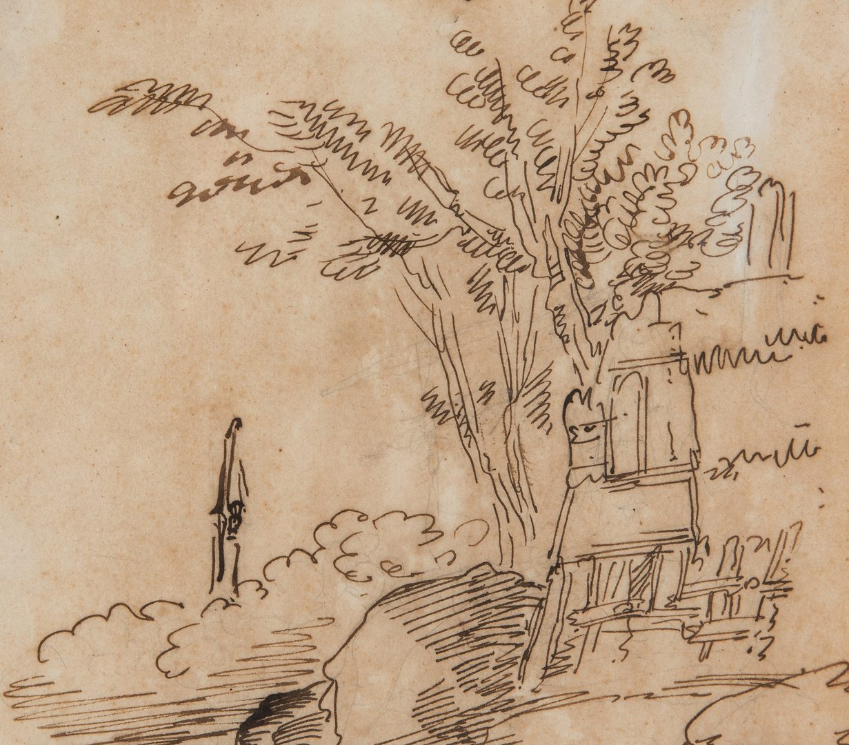 Lot 686: Guiseppe Bison Italian Countryside Drawing