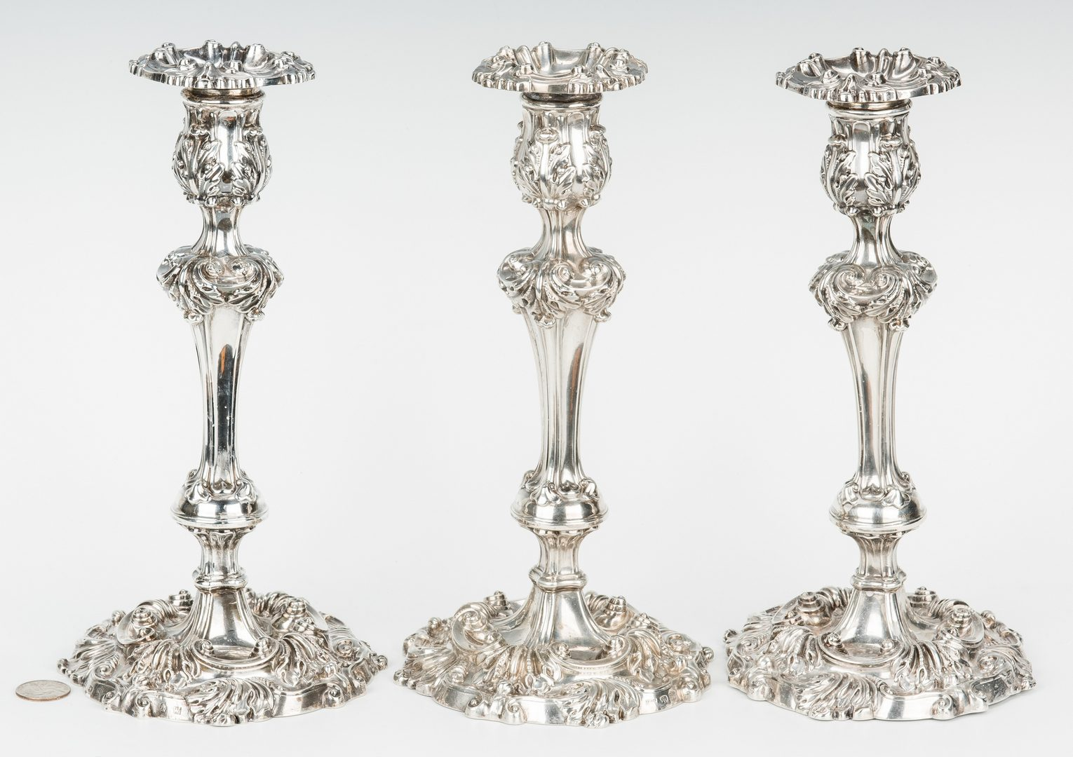 Lot 68: 3 English Sterling Silver Candlesticks