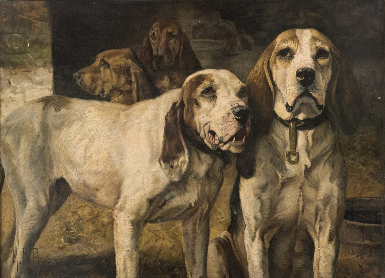 Lot 698: H. R. Poore Winchester Sign with Hunting Dogs