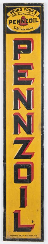Lot 701: Pennzoil Enameled Advertising Sign