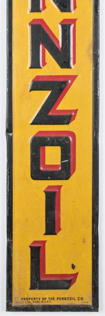 Lot 701: Pennzoil Enameled Advertising Sign