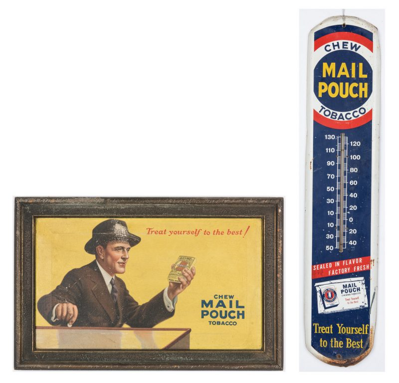 Lot 703: Mail Pouch Tobacco Advertising Painting & Thermometer