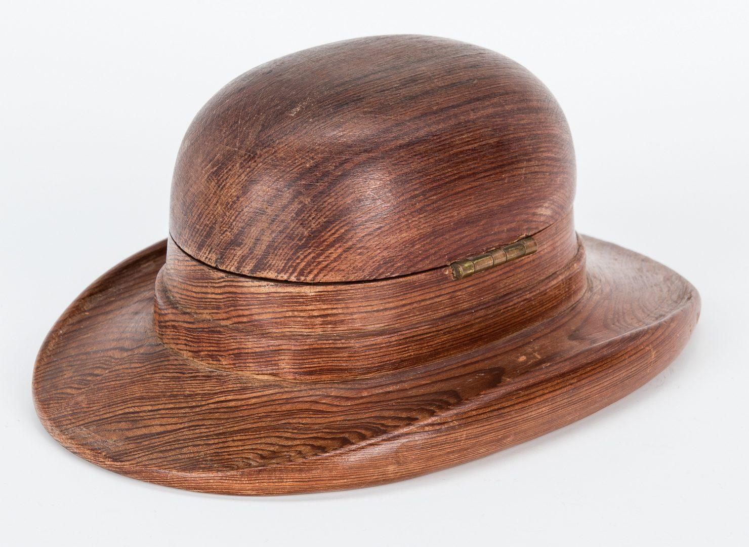 Lot 707: Wood Brown Derby Hat Cigarette Box