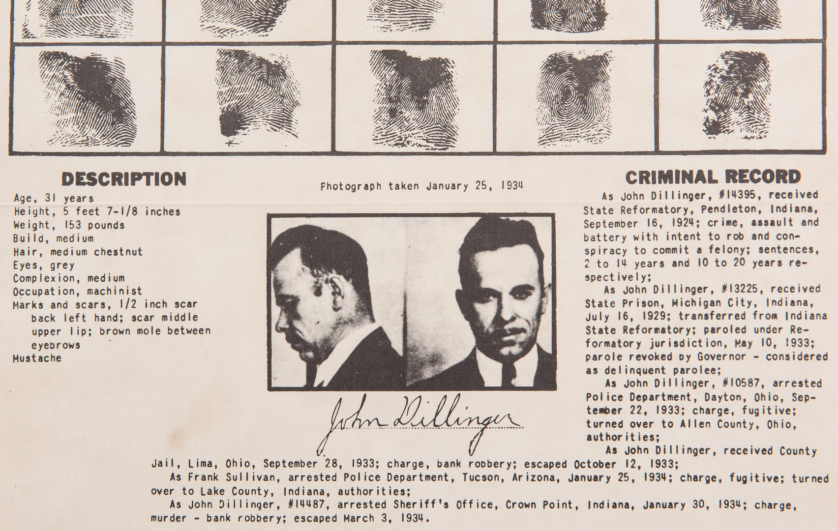 "Lot 708: 3 ""Wanted"" Posters, incl. Bonnie and Clyde, John Dillinger"