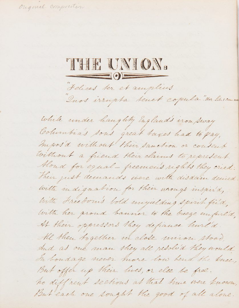 Lot 713: USS Constitution Relic, Early US Gov't Pubs., The Union Poem, 4 items