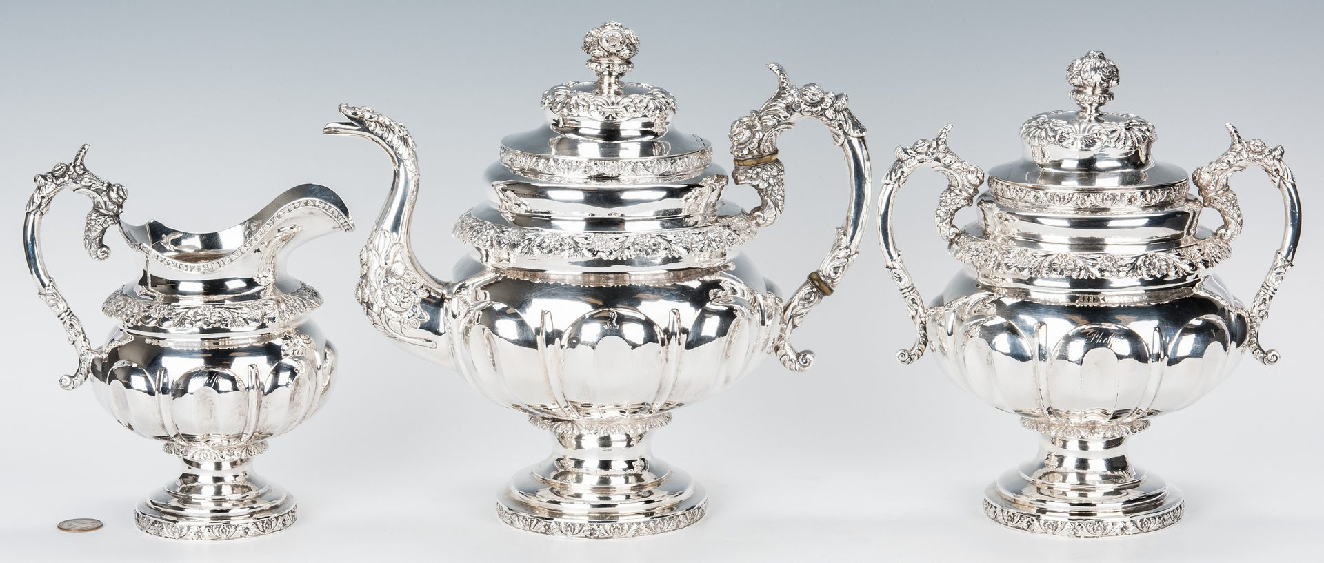 Lot 71: New York Coin Silver Tea Set