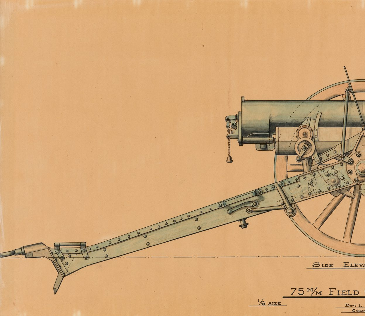 Lot 722: 2 WWI Maps & 2 Field Gun Schematics