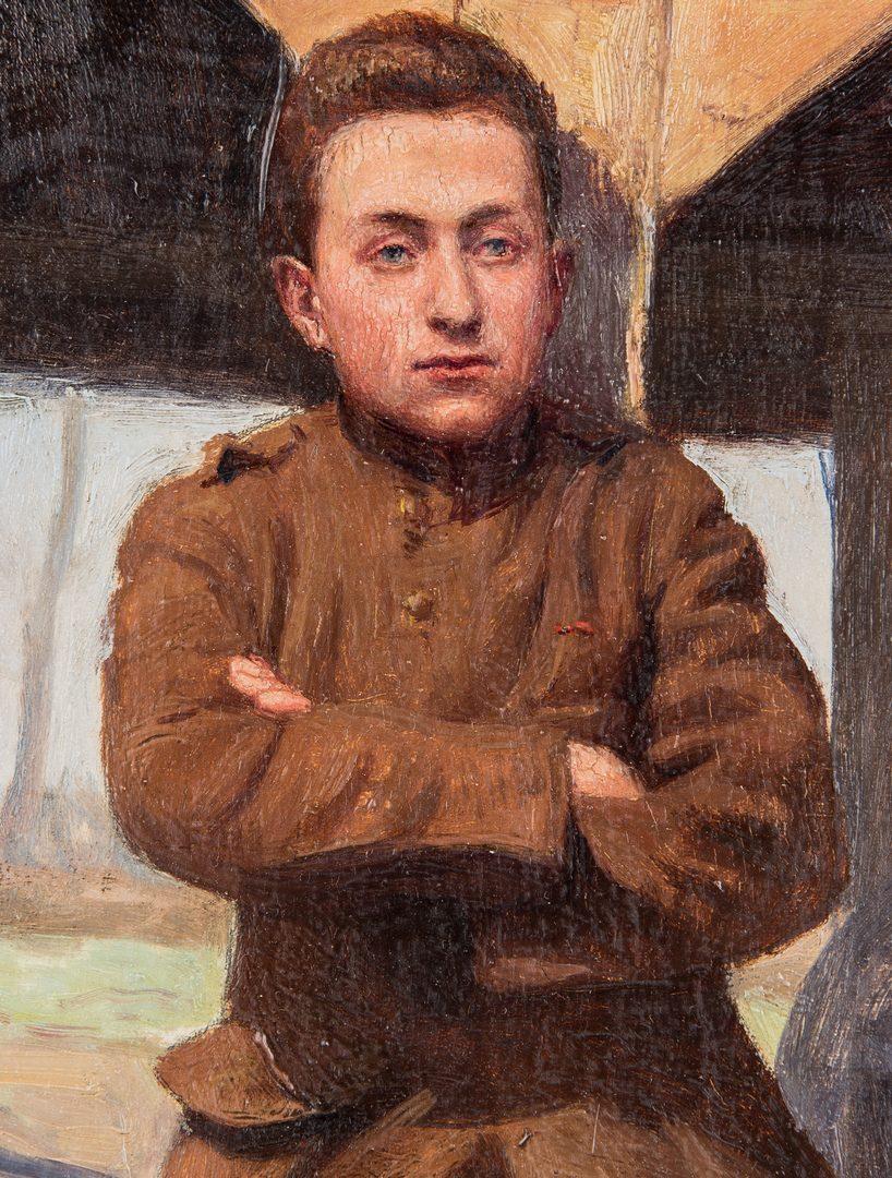 Lot 724: Armand F.J. Henrion oil, WWI Soldier