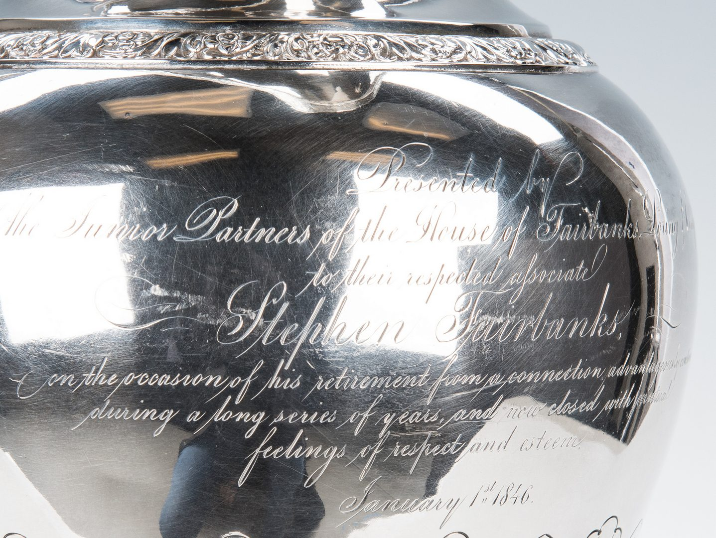 Lot 72: Coin Silver Presentation Pitcher
