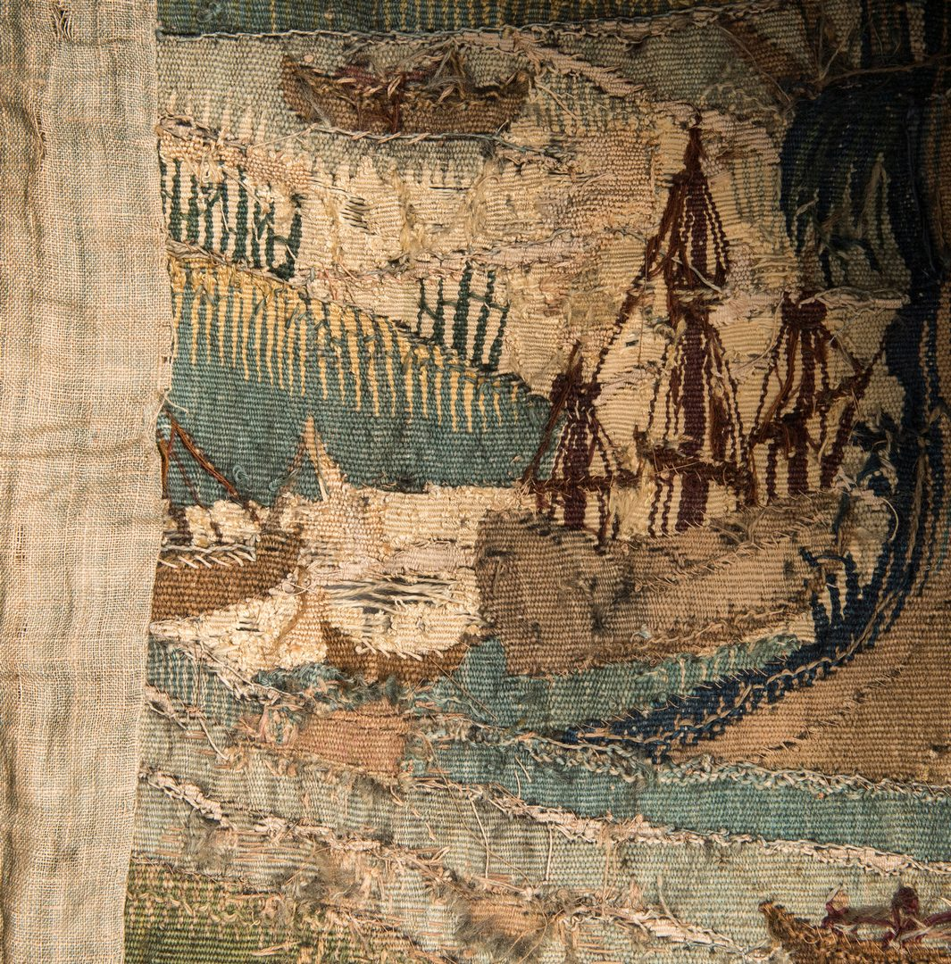 Lot 739: 18th C. Continental Tapestry; Ships, Foliage and Figures