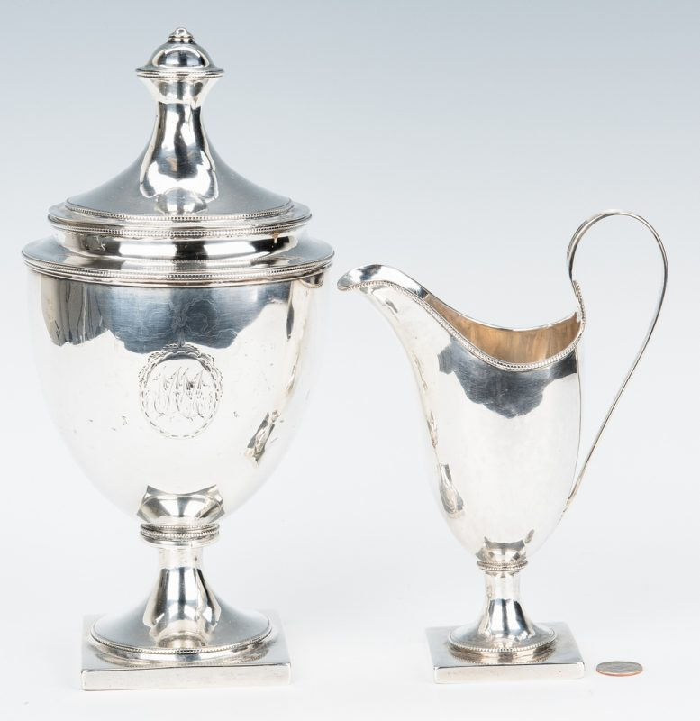Lot 73: Federal Silver Creamer and W. Ball Sugar, plus book