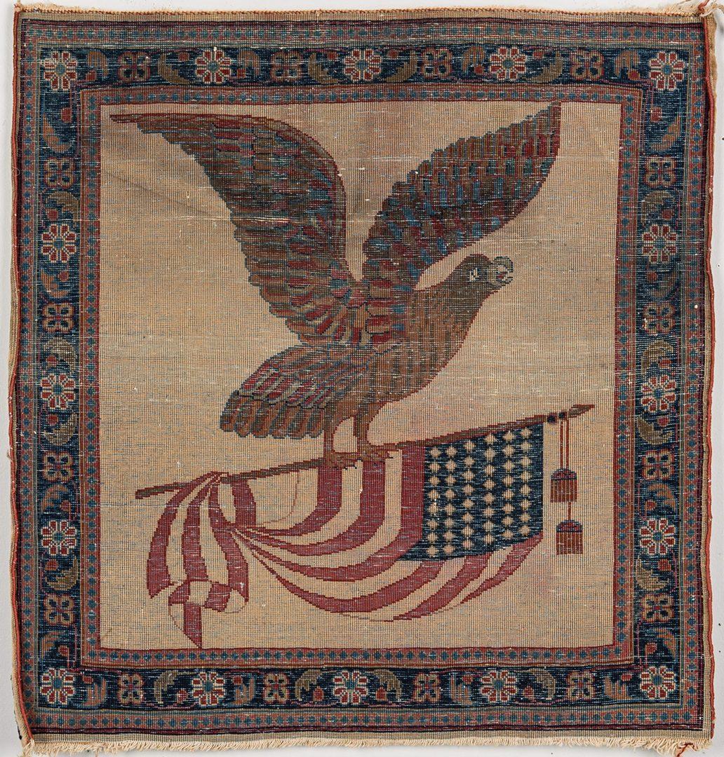 """Lot 740: Kashan Eagle Flag Rug, 22"""" x 21"""""""