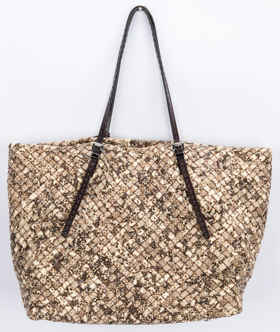 Lot 747: Michael Kors Embossed Snake Tote; Linen Top, NWT