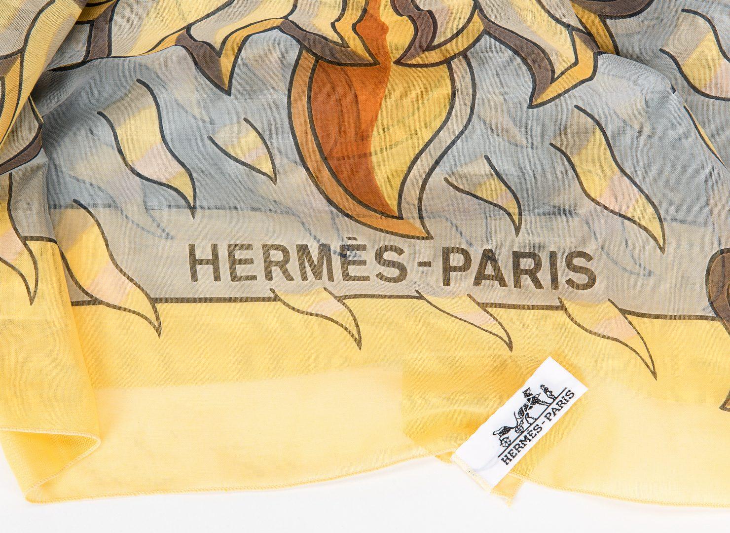 Lot 749: 3 Hermes Scarves/Pocket Squares