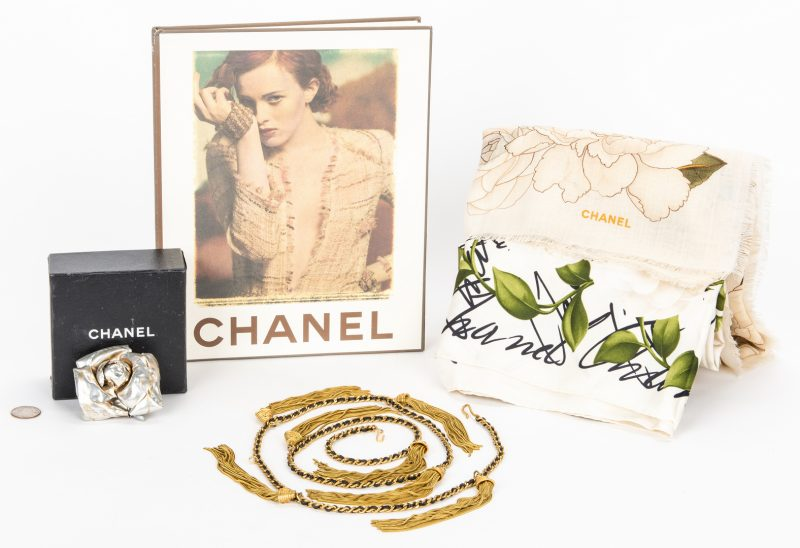 Lot 752: 5 Chanel Items, incl. Camillia Flower Brooch, Scarves and Tassel Belt
