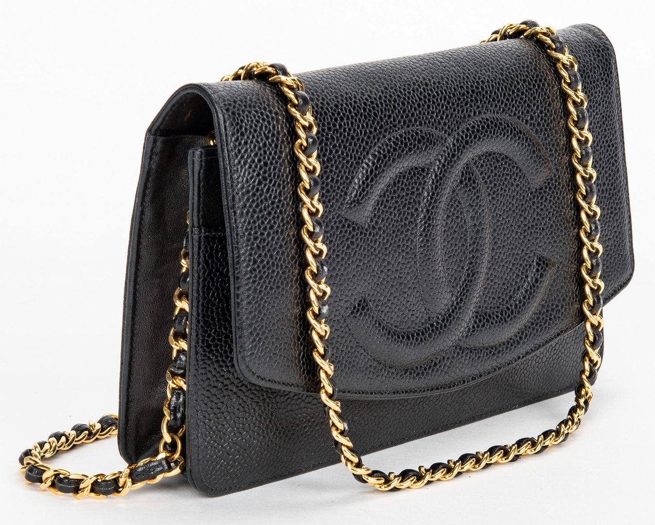 Lot 753: Chanel Caviar Wallet/Crossbody on Chain