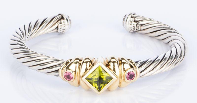 Lot 754: Yurman SS/14K Peridot Cuff Bracelet