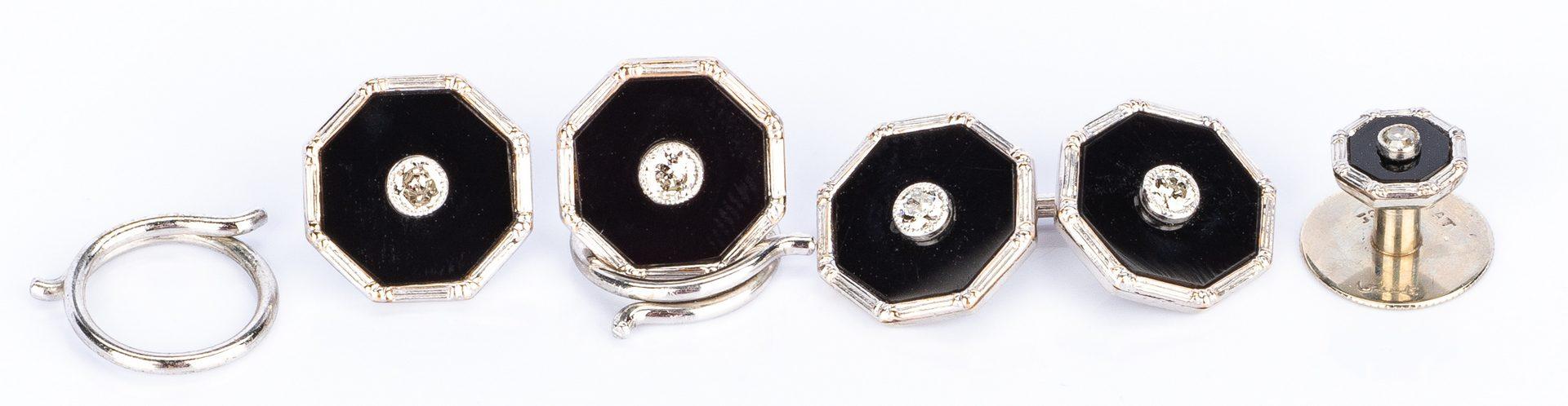 Lot 755: Boxed Tuxedo Set: Onyx & Diamond