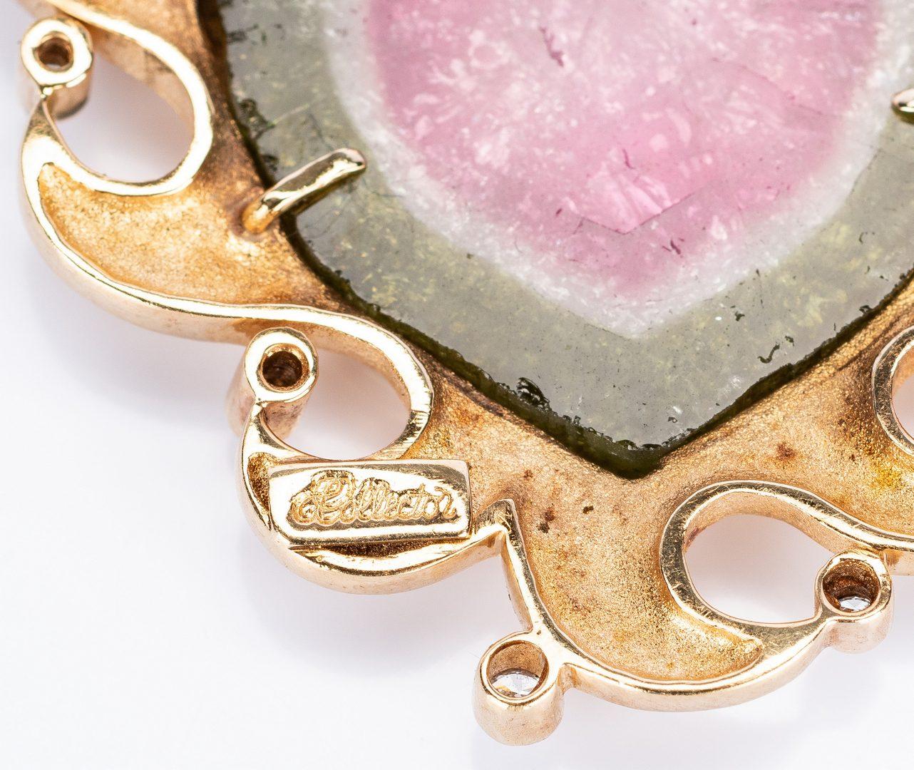 Lot 758: 14k Druzy Quartz Diamond Pin/Pendant