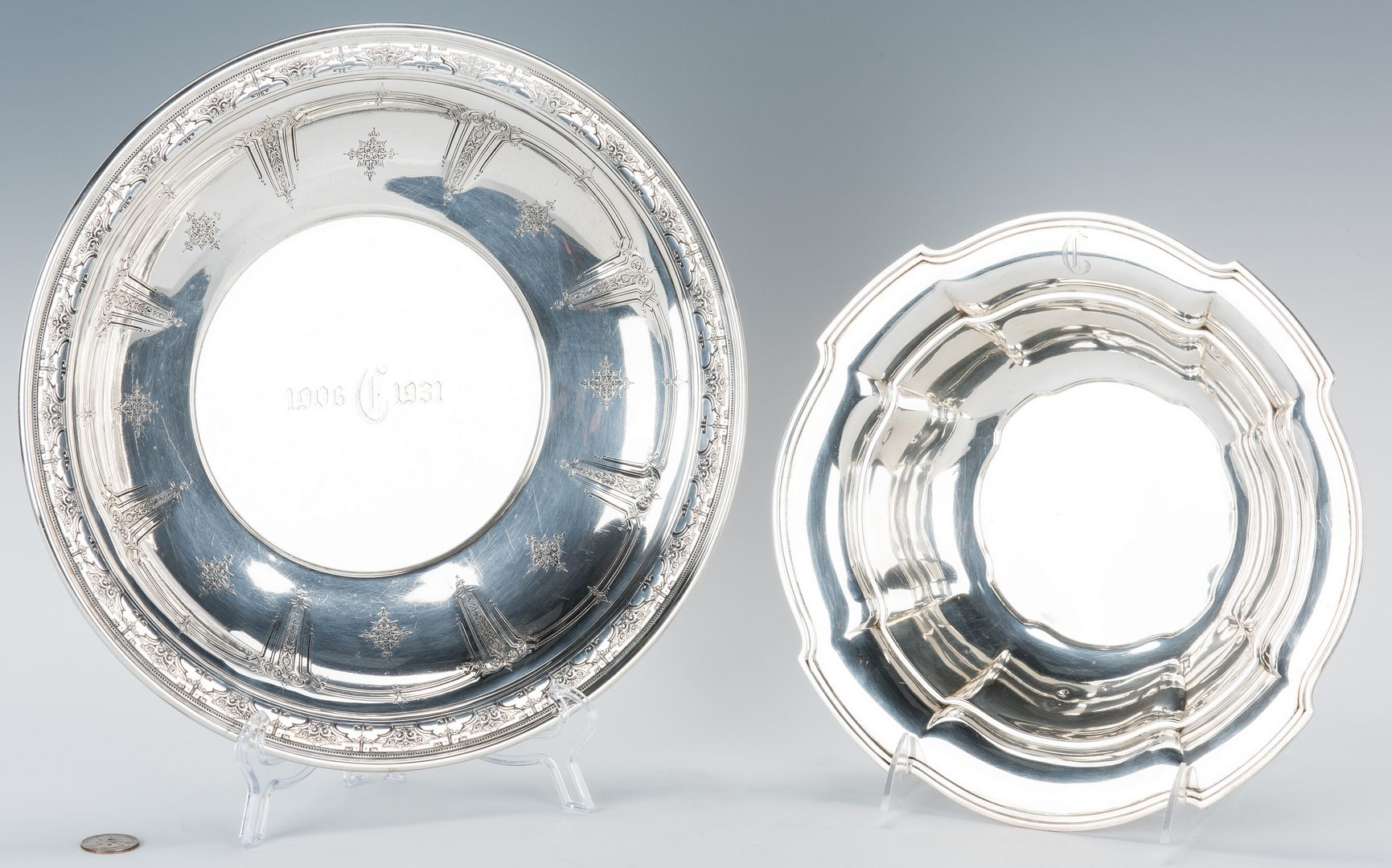 Lot 766: Towle Sterling Centerpiece Bowl + Wallace Bowl