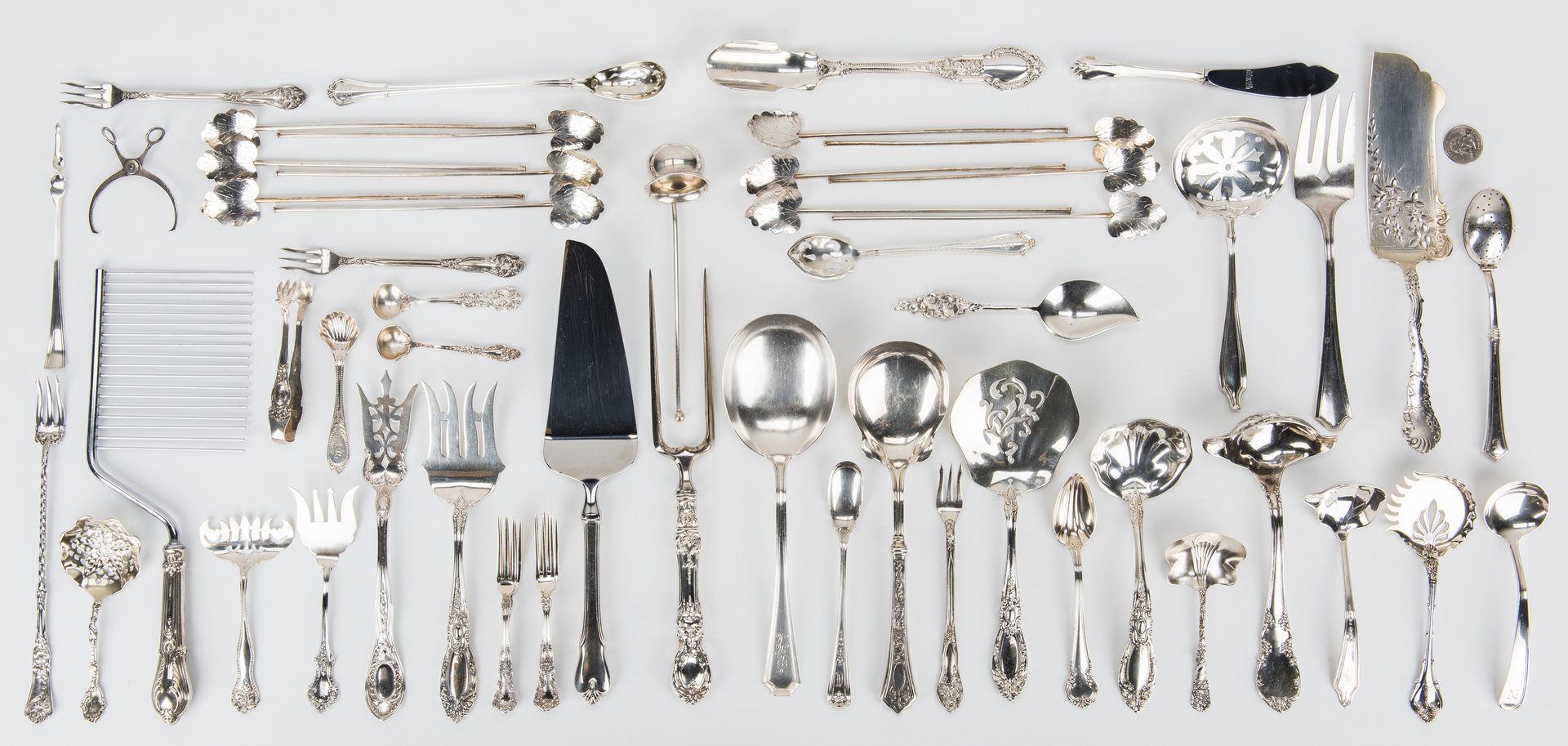 Lot 768: 57 pcs. Flatware, incl. strawberry forks