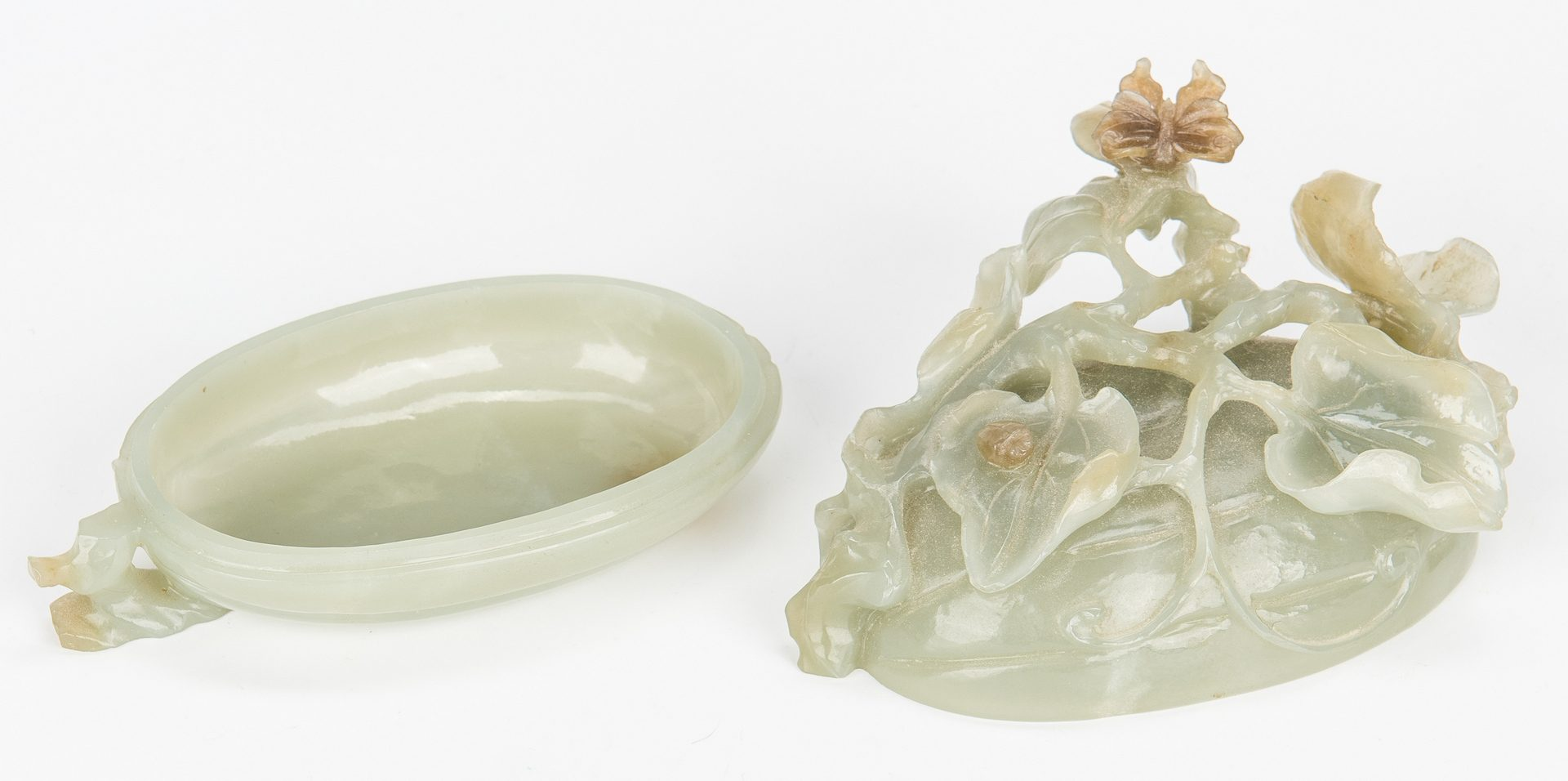 Lot 7: Carved Chinese Jade Melon Box w/ Stand