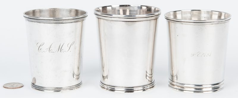 Lot 83: 3 Jaccard St. Louis Coin Silver Julep Cups