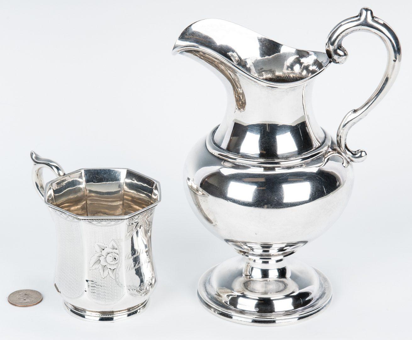 Lot 84: 1 Jaccard Coin Silver Cream Jug and 1 Mug