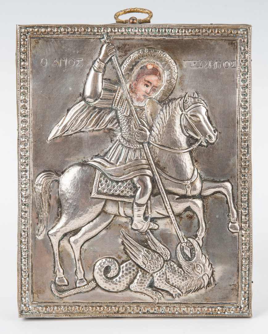 Lot 87: 8 pcs Russian Enameled Silver plus Icon of St. George and Dragon