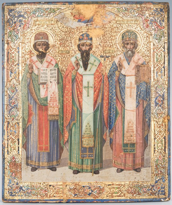 Lot 88: 19th Century Russian Icon with 3 Saints