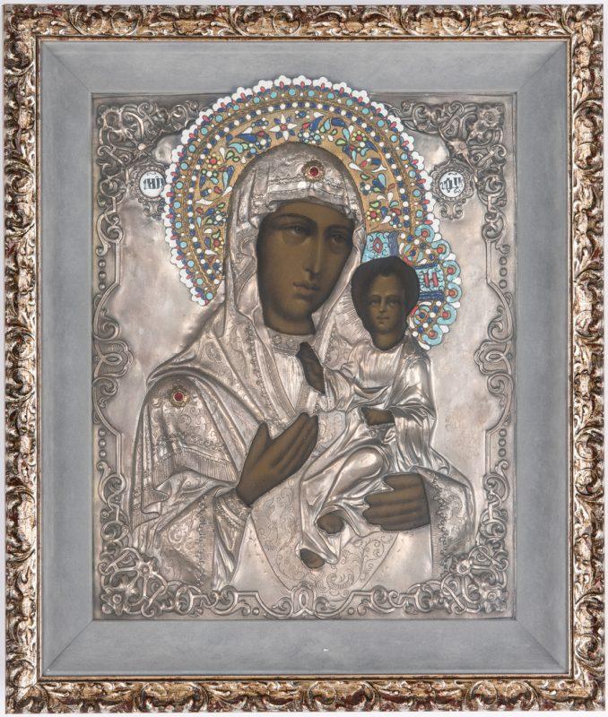Lot 89: Russian Eastern Orthodox Icon, Virgin & Child