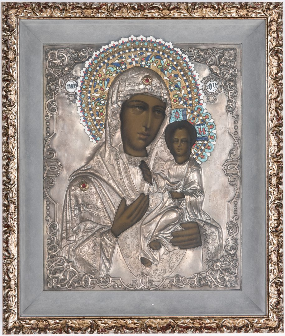Lot 89: Russian Eastern Orthodox Icon, Virgin & Child