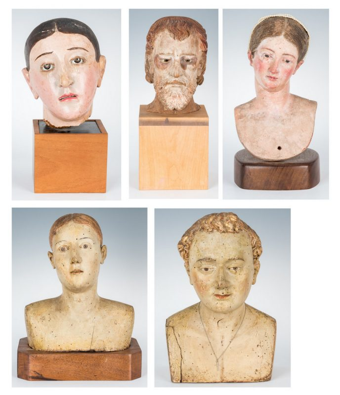 Lot 90: 5 Carved &  Painted Santos Busts