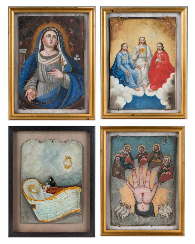 Lot 91: 4 Framed Ex-Voto Mexican Retablos