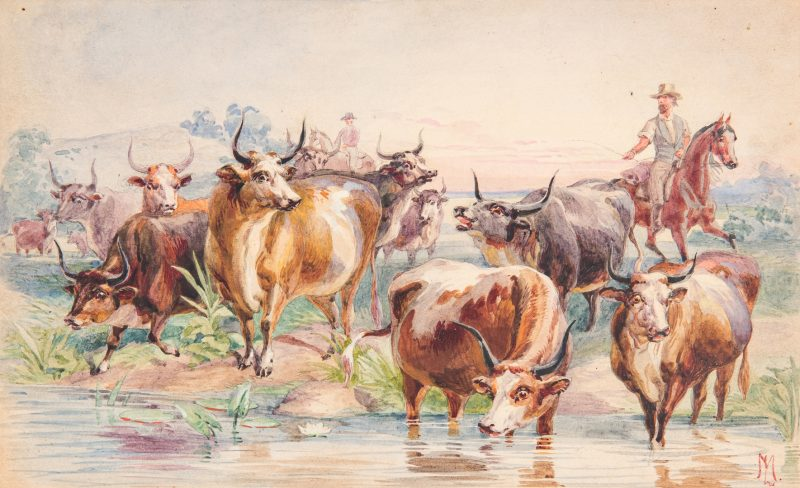 Lot 93: Louis Maurer Watercolor of Cows and Horsemen