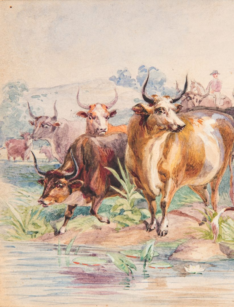 Lot 93: Louis Maurer Watercolor of Cows and Horsemen
