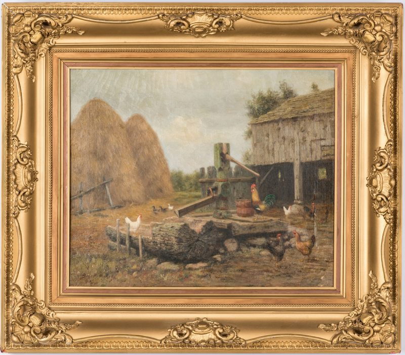 Lot 94: Burr Nicholls O/C, Barnyard Scene