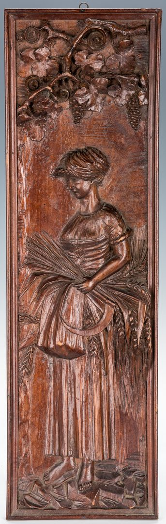 Lot 103: 5 Relief Carved Wooden Panels, incl. Allegorical, Portrait